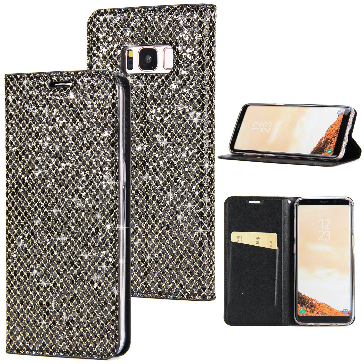Misteem Coque Galaxy S8 Plus Paillette Cristal Strass, Coloré Motif Couverture Fermeture Magnétique Flip Case en Cuir Antichoc Portefeuille PU Stand Etui de Protection Glitter Brillant Bling Fente Carte Housse pour Samsung Galaxy S8 Plus (Rouge)