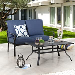 LOKATSE HOME 2-Piece Patio Loveseat Set Outdoor Cushioned Sofa Bench with Coffee Table, Steel Frame, Blue