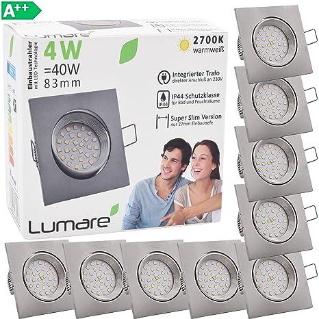 9x Lumare LED Slim Line Einbauspots IP44 4W eckig silber mit nur 27mm Einbautiefe