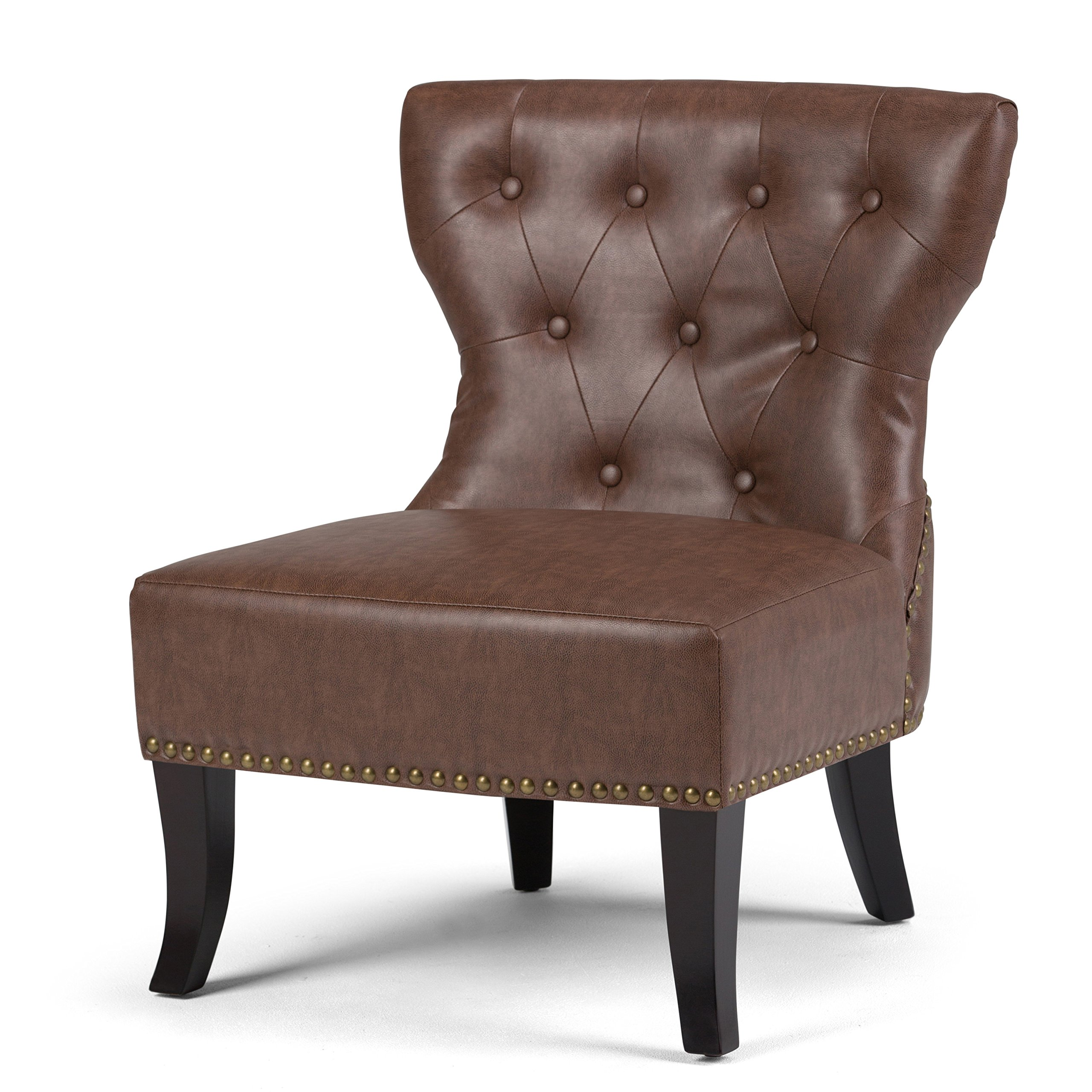 Simpli Home Kitchener Tufted Accent Chair, Rustic Brown