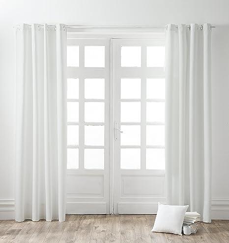 TODAY - Cortina con Ojales, algodón, 140 x 250 cm, algodón, Blanco ...