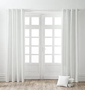 TODAY - Cortina con Ojales, algodón, 140 x 250 cm, algodón, Blanco, 140x250 cm: Amazon.es: Hogar