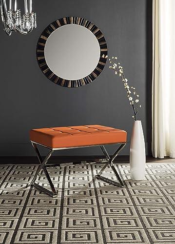Safavieh Home Collection Micha Modern Glam Orange Tufted and Steel Ottoman
