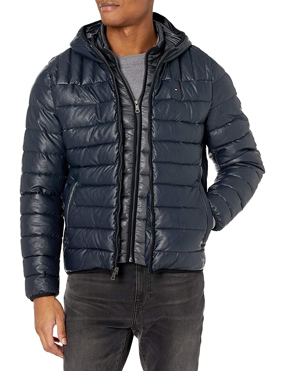 Tommy Hilfiger Mens Lamb Touch Quilted Hooded Puffer Jacket