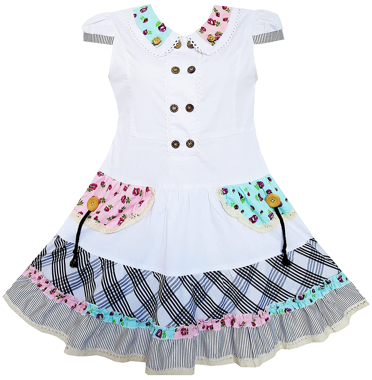 Sunny Fashion Girls Dress White Cute Colorful Collar Back School
