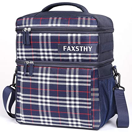 Stripes Large Faxsthy Lunch Bag Insulated Lunch Box Reusable