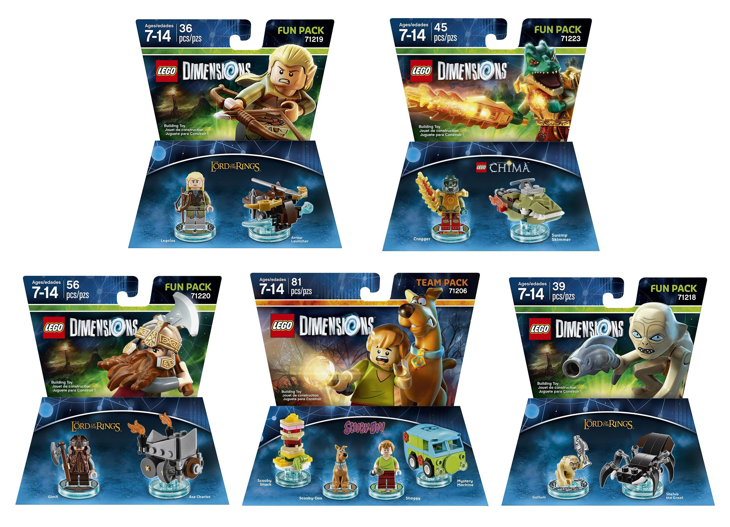 Scooby Doo Team Pack + The Lord Of The Rings Legolas + Gimli + Gollum + The Legend Of Chima Cragger Fun Packs - LEGO Dimensions - Not Machine Specific