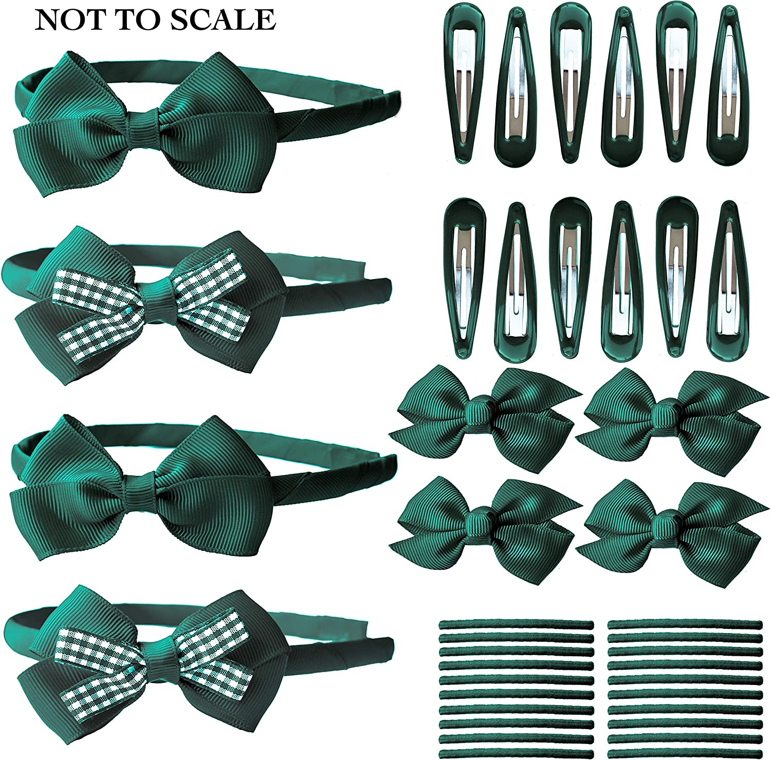 2 Packs Of Forest GreenWith Stripe hair bow Clips//hair Accesories//School Uniform