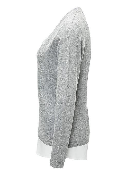b48291f684ce Key Largo Damen Pullover Feinstrick Double Layer Look Bluse Business (XL,  Grey Melange)  Amazon.de  Bekleidung
