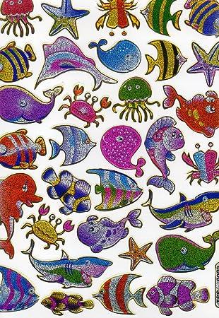 Fische Fisch Tiere Bunt Aufkleber 33 Teilig 1 Blatt 135 Mm X