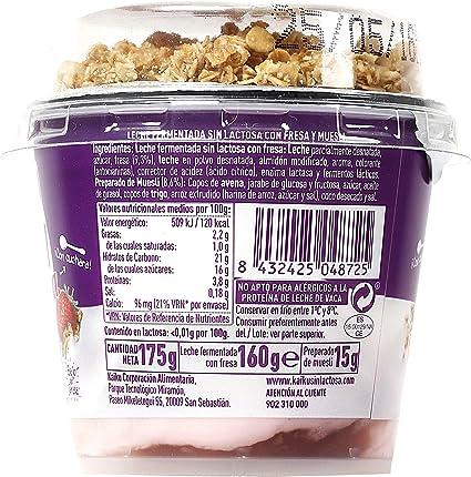 KAIKU yogur sin lactosa con cereales y fresa vaso 175 gr ...