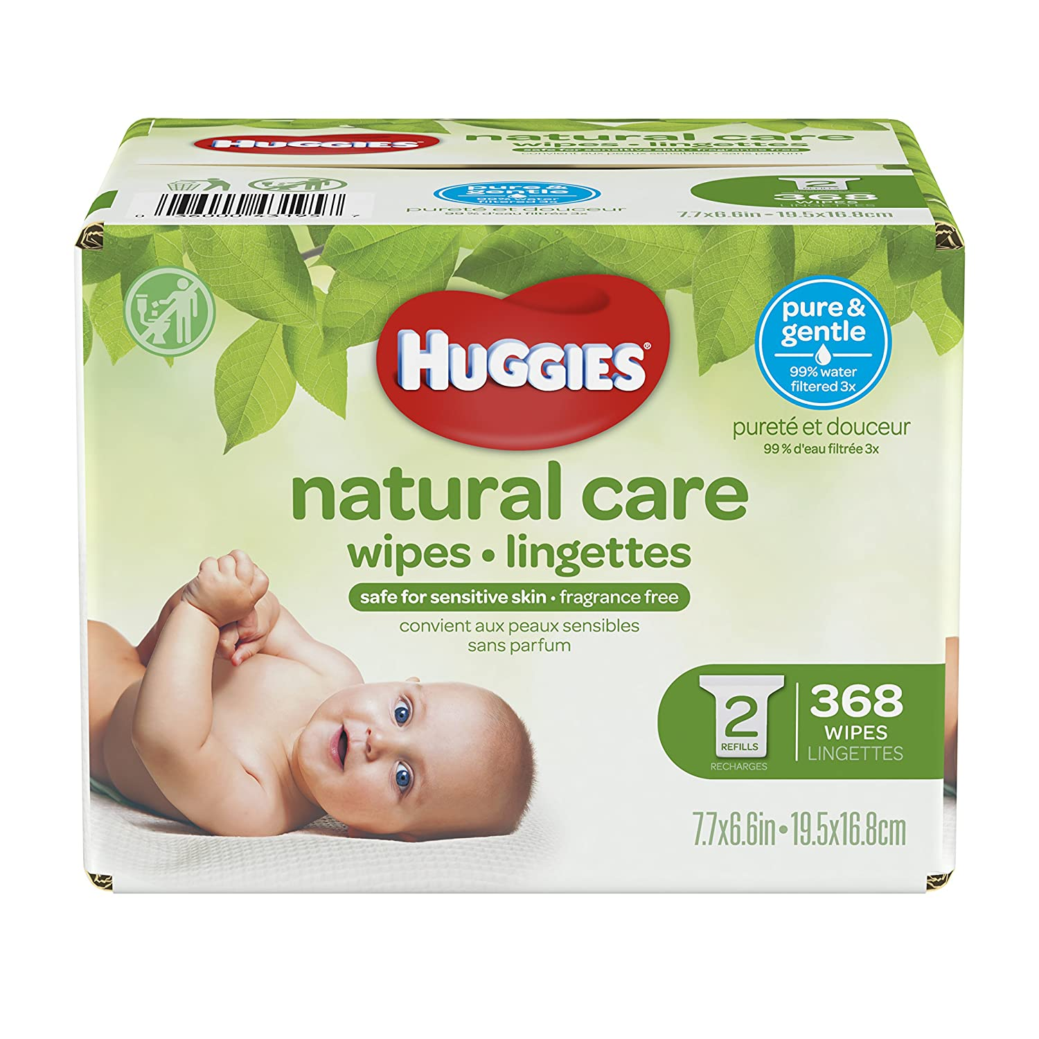 HUGGIES NATURAL CARE Fragrance-Free & Hypoallergenic Baby Wipes (2X Refill Packs, 368 Count) Kimberly-Clark Corp. CA 43195