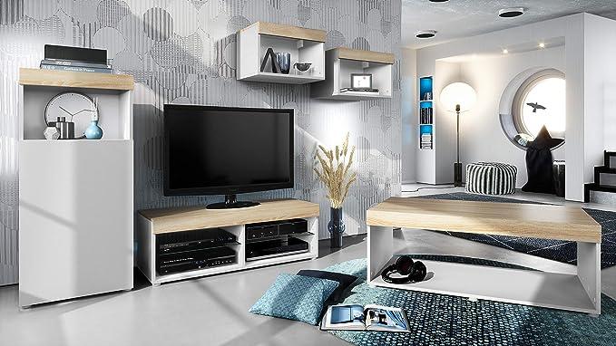 Conjunto de Muebles Pure para Sala de Estar | Mesa Baja, 2 estanterías, gabinete, Mesa | Cuerpo en Blanco Mate/Partes Superiores y Paneles en Roble áspero | Amplia selección de Colores: Vladon: