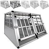 LovPet® Alu Hundebox Alubox Hundetransportbox Transportbox Reisebox Haustiere | Stabil | Größe: M - XXL | Farbe: Grau / Silber + Trennwand