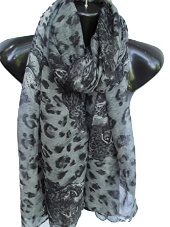 a44b2d34298b6 ... weight wild leopard spots animal print ladies fashion shawl scarf  sarong - by Fat-Catz-copy-catz (grey wild leopard print scarf)  Amazon.co.uk   Clothing
