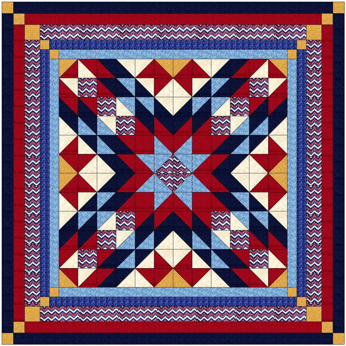 Easy Quilt Kit Patriotic Starburst/Queen/Expedited Shipping Galaxy/RJR
