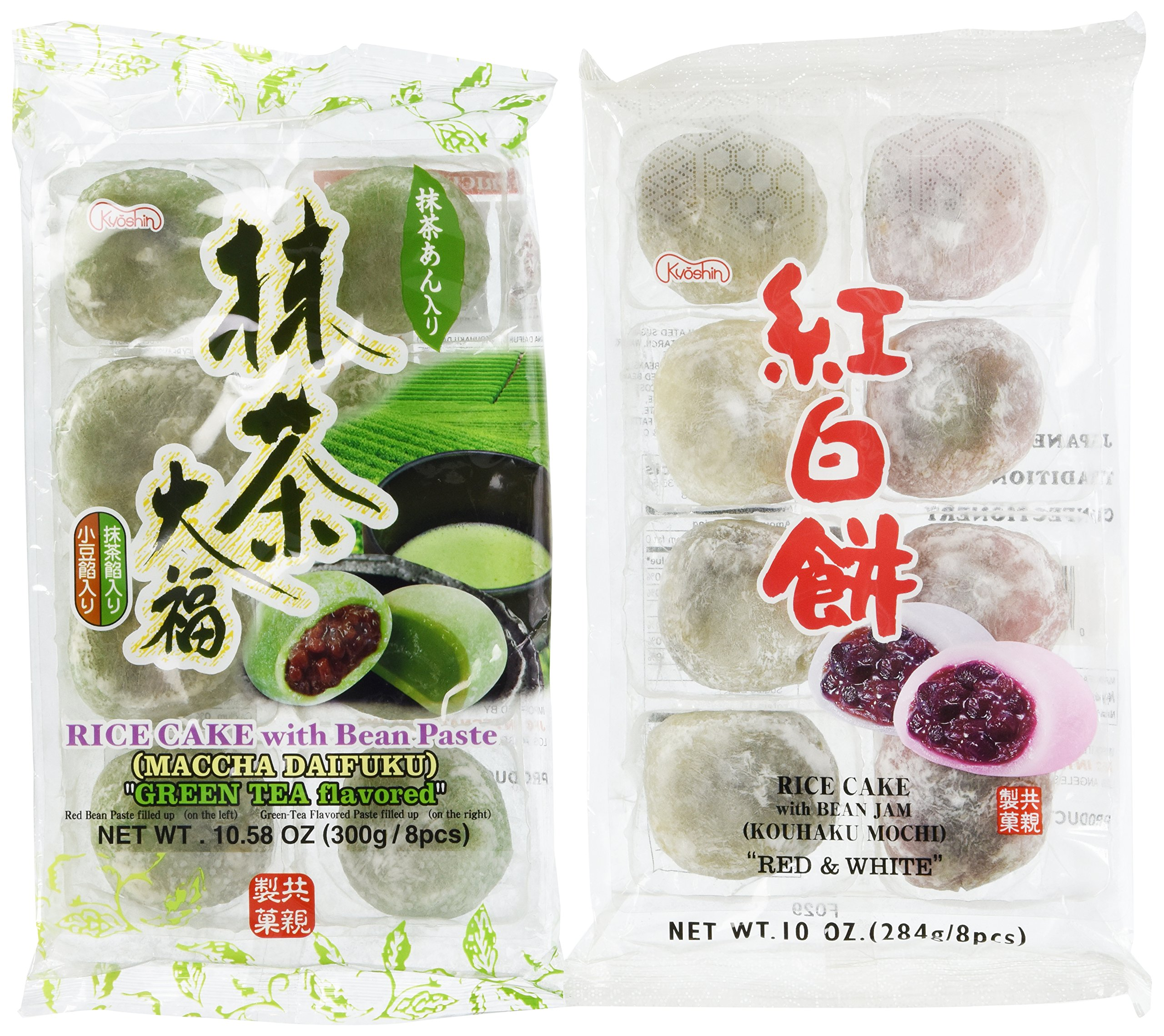 Japanese Green Tea Mochi + Yomogi & Red Bean Mochi Sampler - 2x 8 Pc by Unknown by Unknown