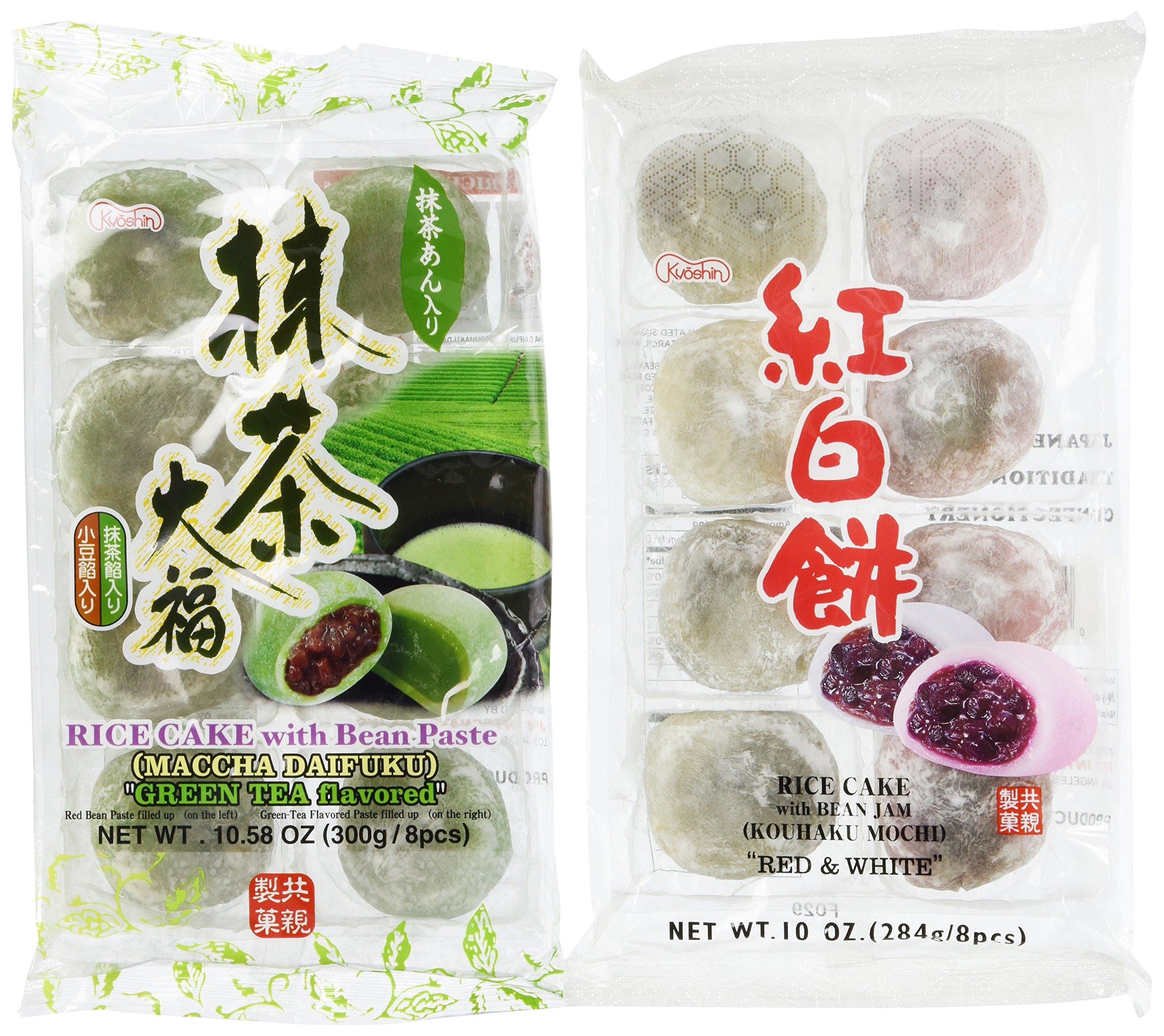 Japanese Green Tea Mochi + Yomogi & Red Bean Mochi Sampler - 2x 8 Pc by Unknown