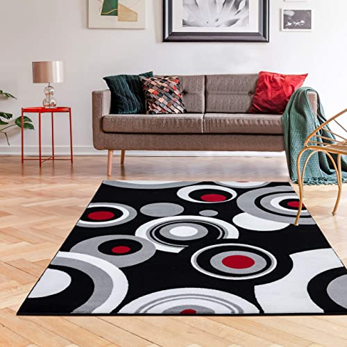 175 Gray Black White Red 5'2 x 7'2 Modern Abstract Area Rug Carpet