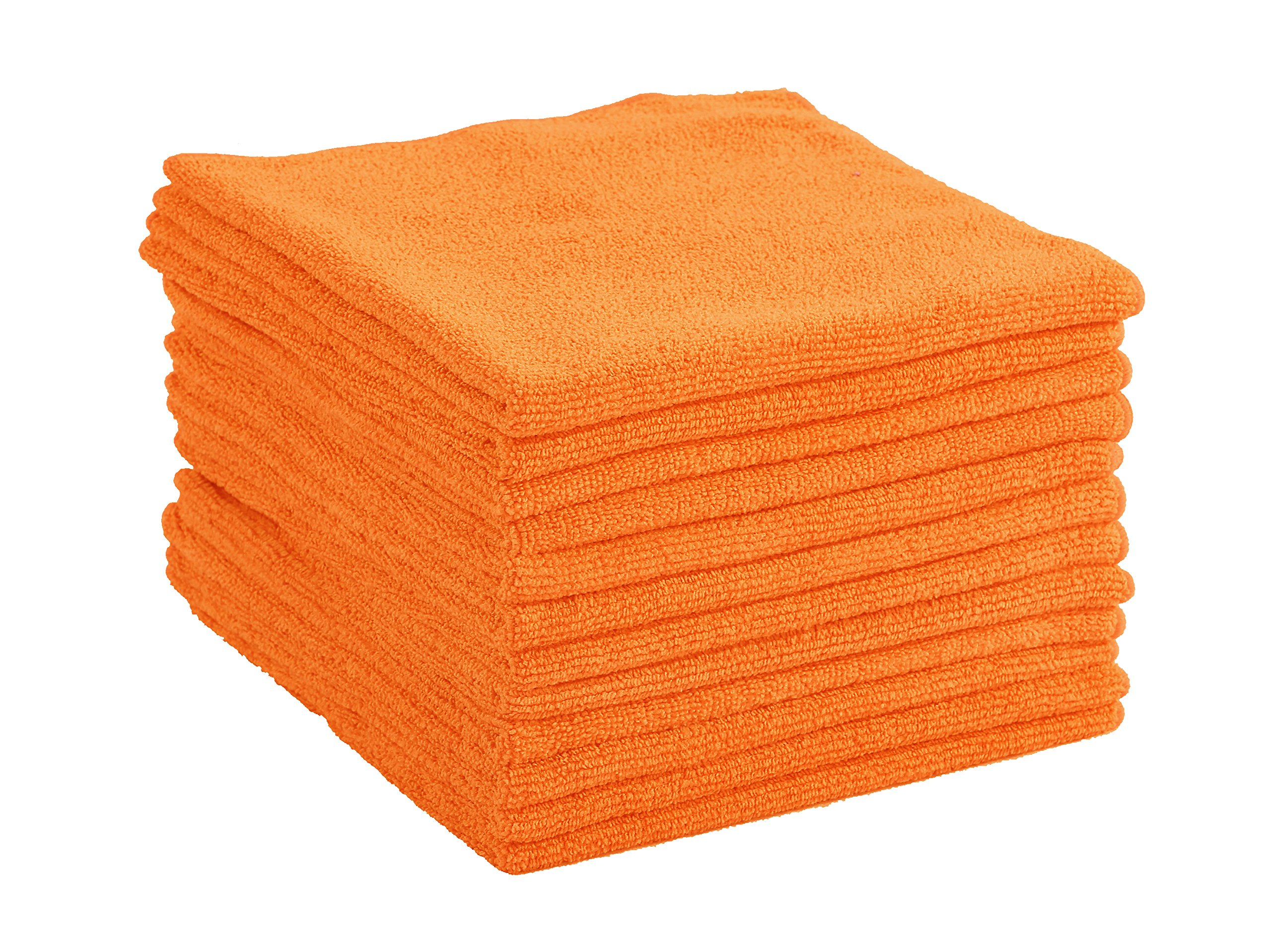 Dri Professional Extra-Thick Microfiber Cleaning Cloth - 16 in x 16 in - 12 Pack (Orange) - Ultra-absorbent, quick drying, chemical-free cleaning