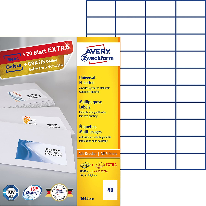 10 Kartons Adress-Etiketten 100 Blatt pro Karton 52,5 x 29,7 mm