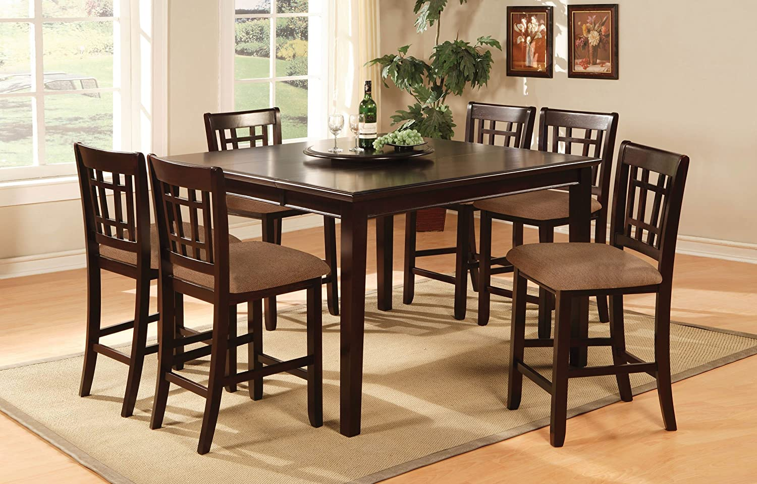 Amazon.com   Furniture Of America Madison 7 Piece Counter Height Table Set  With Removable Lazy Susan And 18 Inch Leaf, Dark Cherry Finish   Table U0026  Chair ...