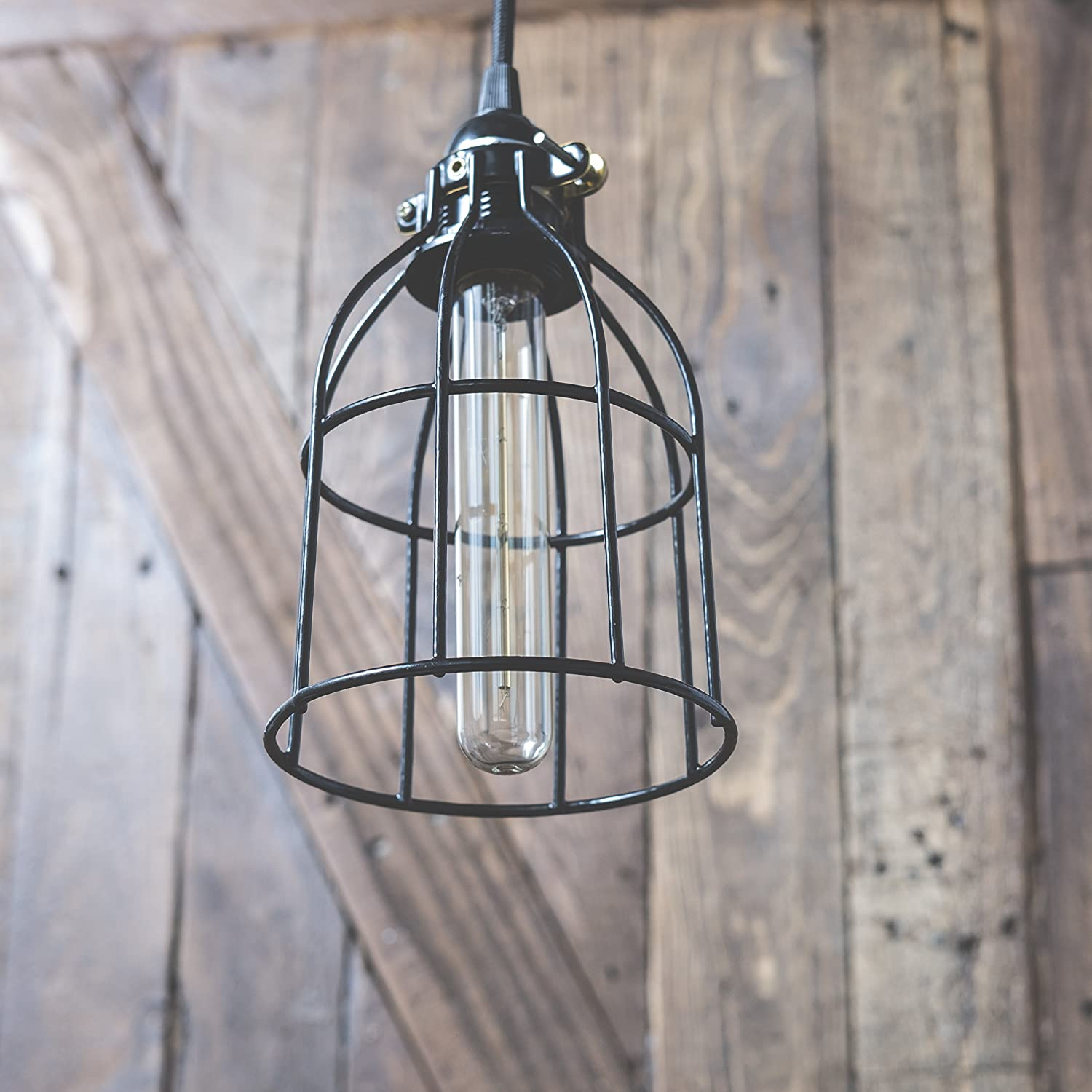 Industrial Vintage Style Metal Wire Curved Cage Pendant Ceiling Lamp Wiring A Lighting Fixture Light Set With 15 Toggle Switch Black Plug In Cord And Edison Tube Bulb