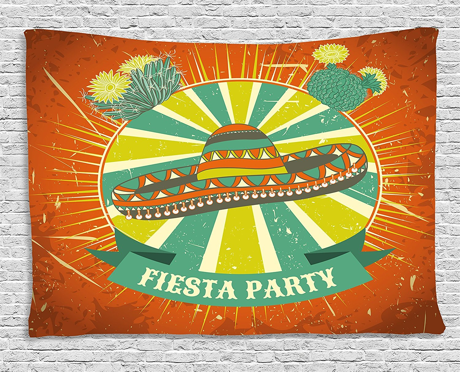 Fiesta Tapestry, Latin America Culture Inspired Ethnic Sombrero and Cactuses Worn, Wall Hanging for Bedroom Living Room Dorm, 80 W X 60 L Inches, Orange Seafoam Yellow Green