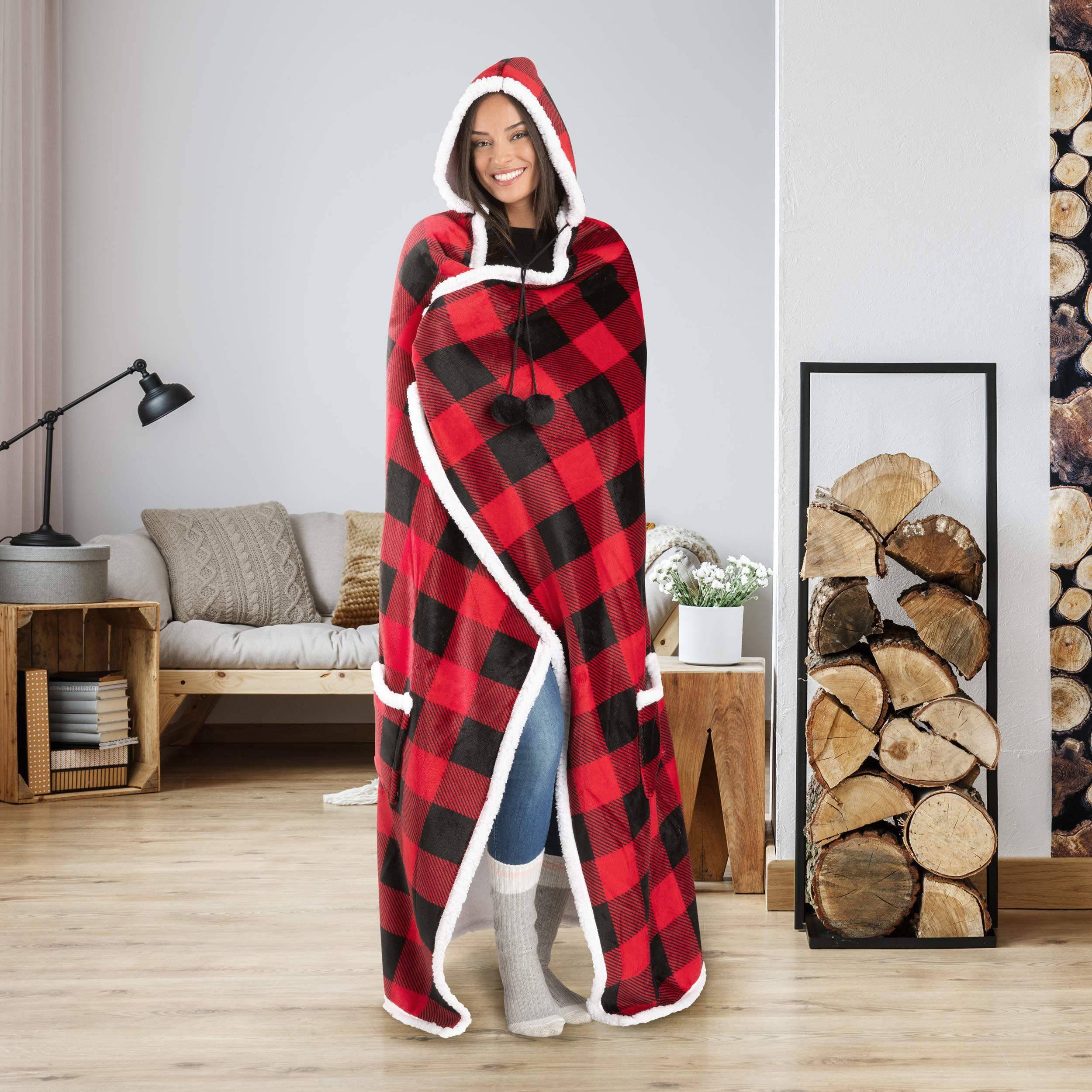 Safdie & Co. Hooded Blanket Throw Wearable Cuddle 52''x72'' Red/Black by Safdie & Co.