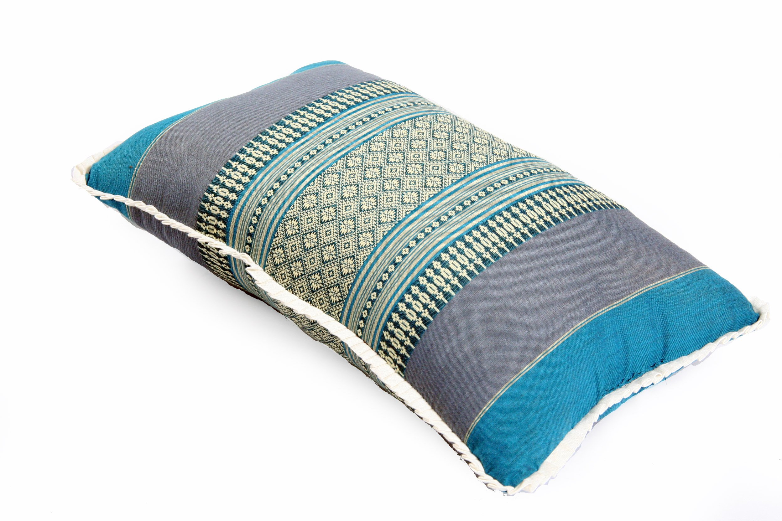 Pillow 17.5''x11'' firmly stuffed with Kapok traditional Thai Design decorative asia cushion Blue Tones by Kapok Dreams