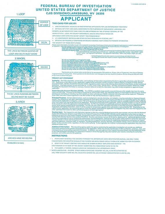Amazon Fbi Fingerprint Cards Form Fd 258 3 Pack Office