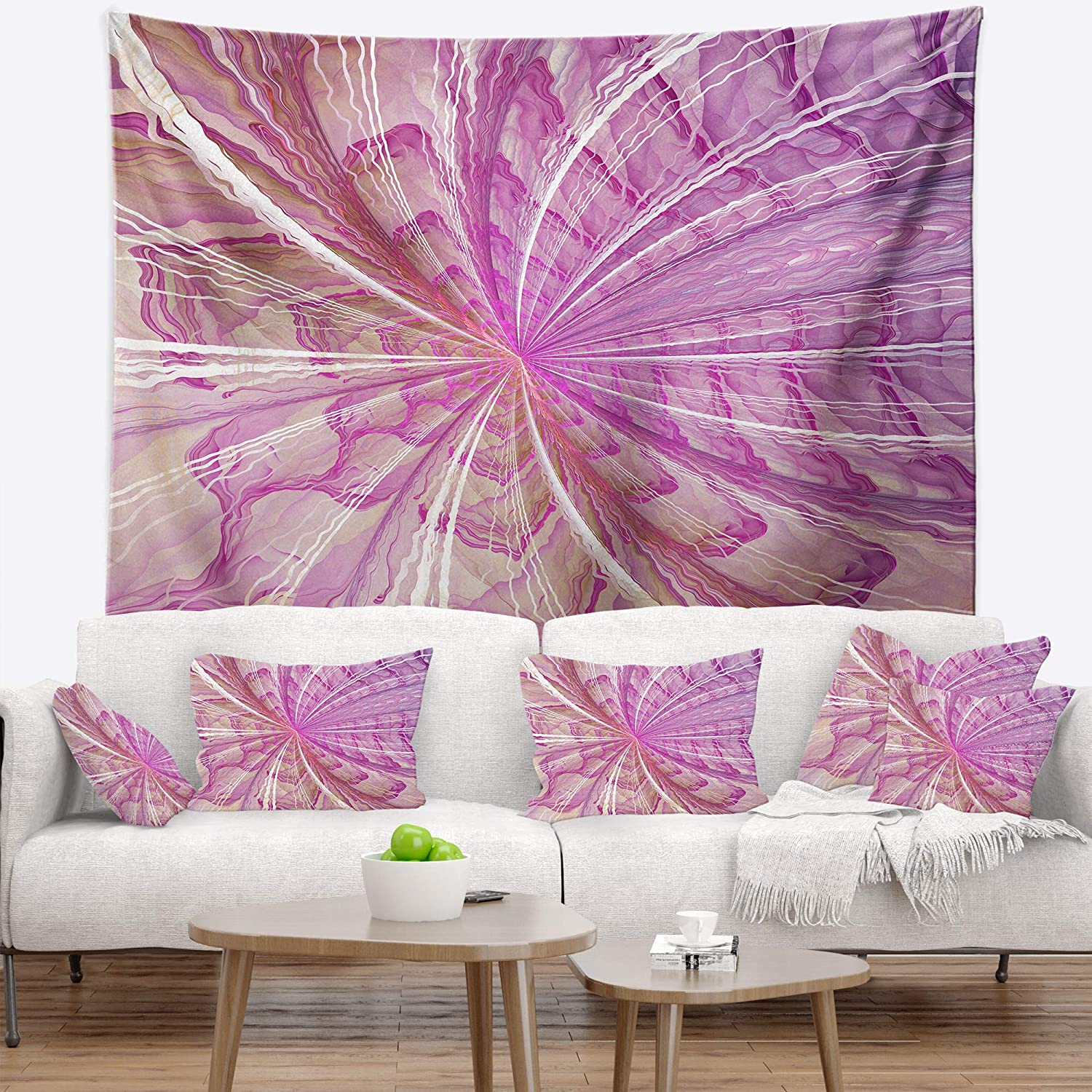 Designart TAP11989-50-60  Symmetrical Light Purple Fractal Flower Floral Blanket D/écor Art for Home and Office Wall Tapestry Large 50 x 60
