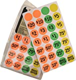 Neon Garage Sale Labels Pre-Printed and Blank 420 Count