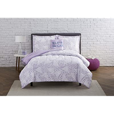 Mytex, LLC Kaleidoscope 3-Piece Comforter Geometric Bedding Set, Modern, Contemporary, Teen, Girls, Vibrant, Believe You Can Decorative Pillow Included, Twin, Lilac: Home & Kitchen