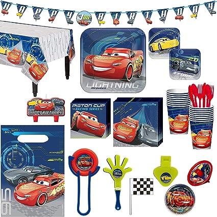 Amazon.com: Kit de fiesta de cumpleaños Cars 3, incluye ...