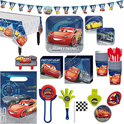 Amazon Cars 3 Birthday Party Kit Includes Happy Banner And Favor Pack Serves 16 By City Toys Games