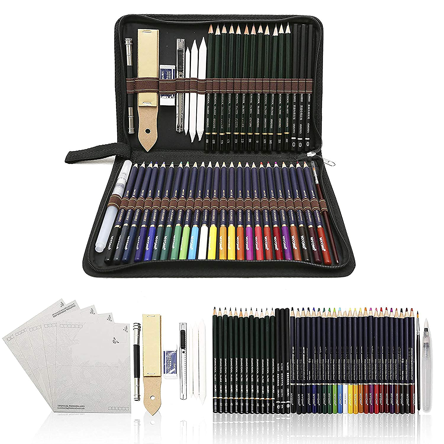 54PCS Art Colouring Pencils,Watercolour Drawing Pencils Set, Sketch Pencils with Drawing Tool In Personalized Large Pencil Case,Best Gift For Students & Artists Zzone