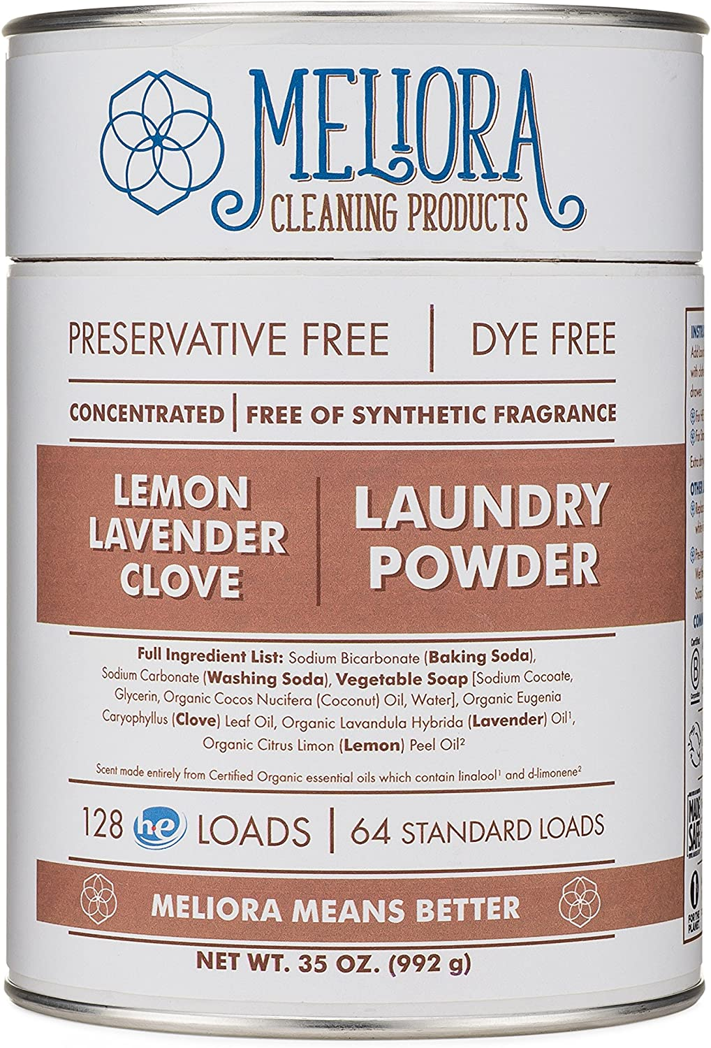 Meliora Cleaning Products Laundry Powder, Lemon-Lavender-Clove, 128 HE (64 Standard) Loads