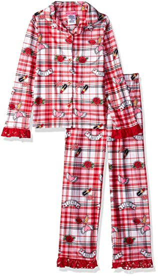 64b06ef7869f69 Betsey Johnson Girls' Big Soft Knit Flannel Button Down Pajama Set, red /Multi