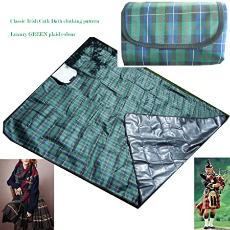 Zen Formosa All Purpose Durable Outdoor Picnic Blanket Camping Mat Moisture Resistant Polyester Top, Back side Sand, Waterproof and Stains-Resistant PVC Underside Lining Classic Scottish Tartan Pattern