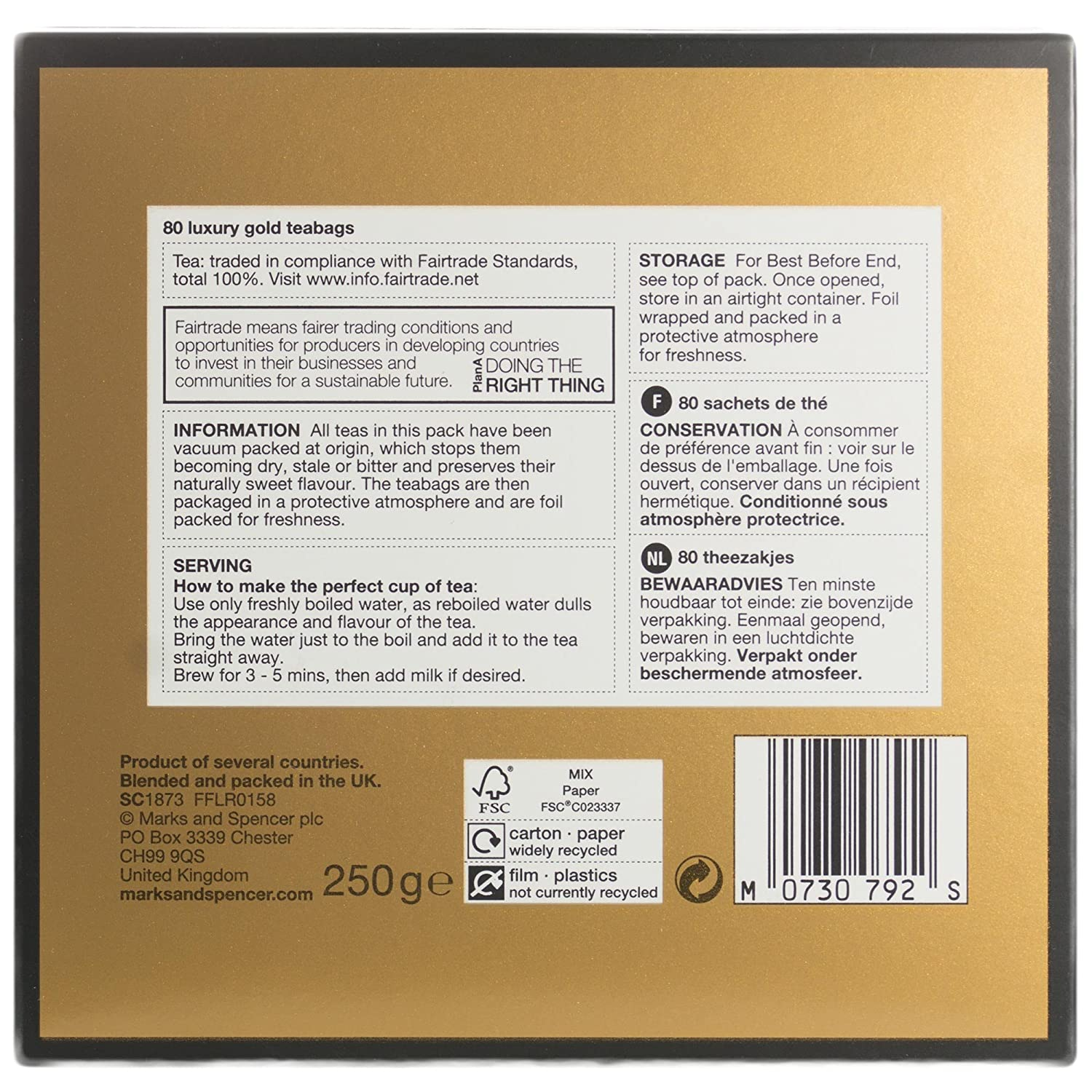 Amazon.com : M&S Marks & Spencer Luxury Gold Tea - 2 x 80 Bags From ...
