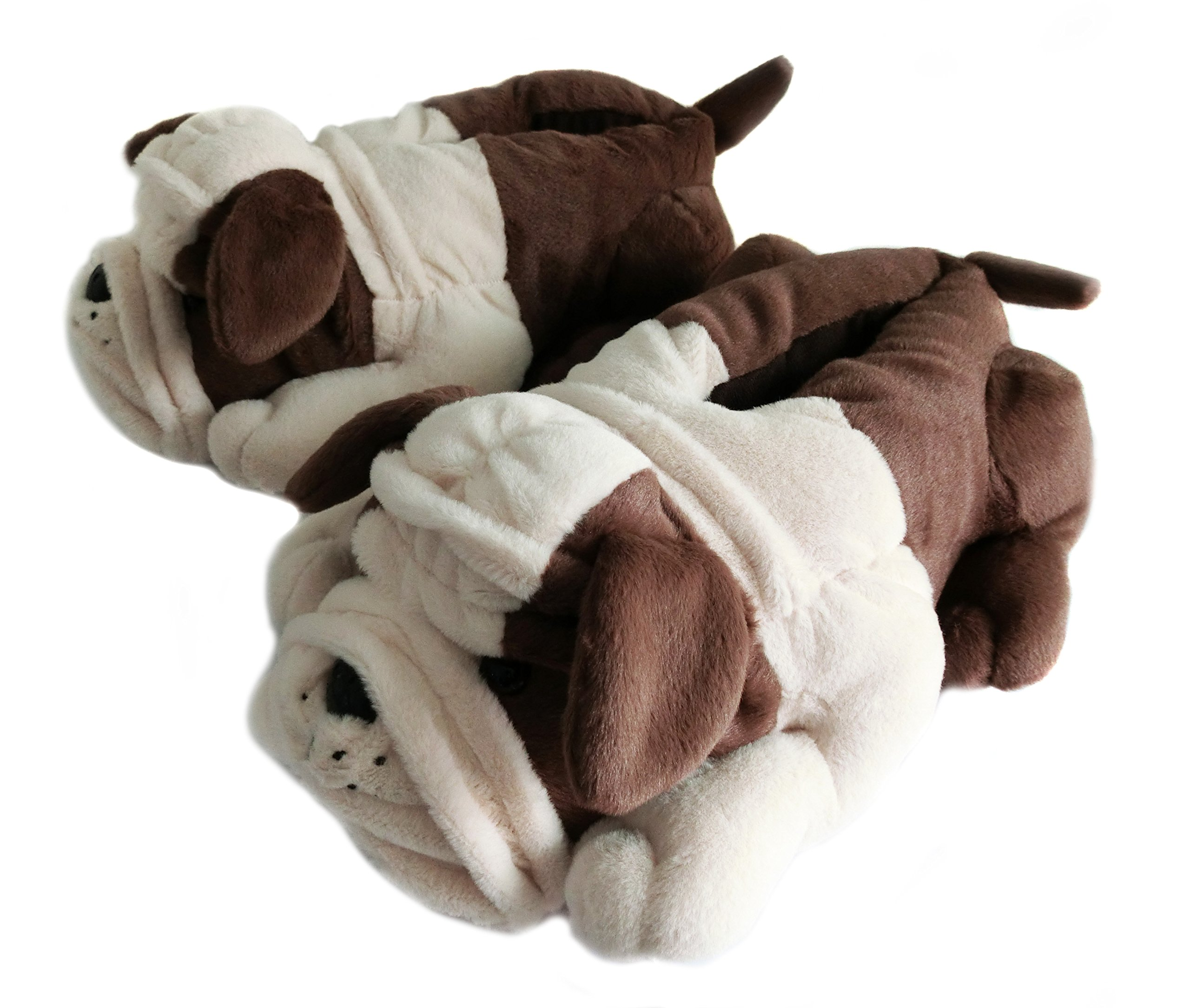 Fuzzy Winter Indoor Animal Bulldog Slippers for Adult and Kid, Bull Dogs (US Women Size 7-9, Coffee Bulldog) by Onmygogo (Image #1)