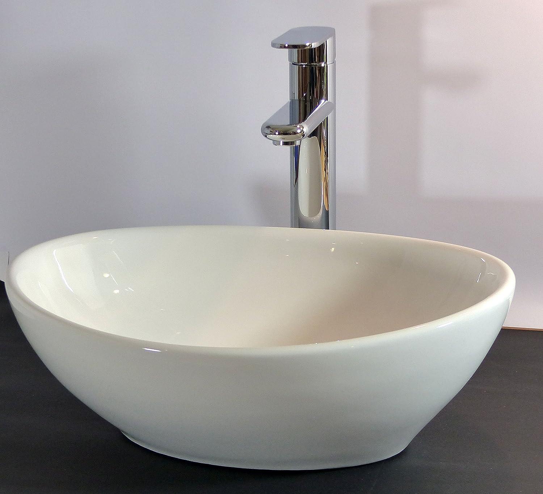 Kleines Keramik Aufsatz Waschbecken oval Gäste WC 40x32cm: Amazon.de ...