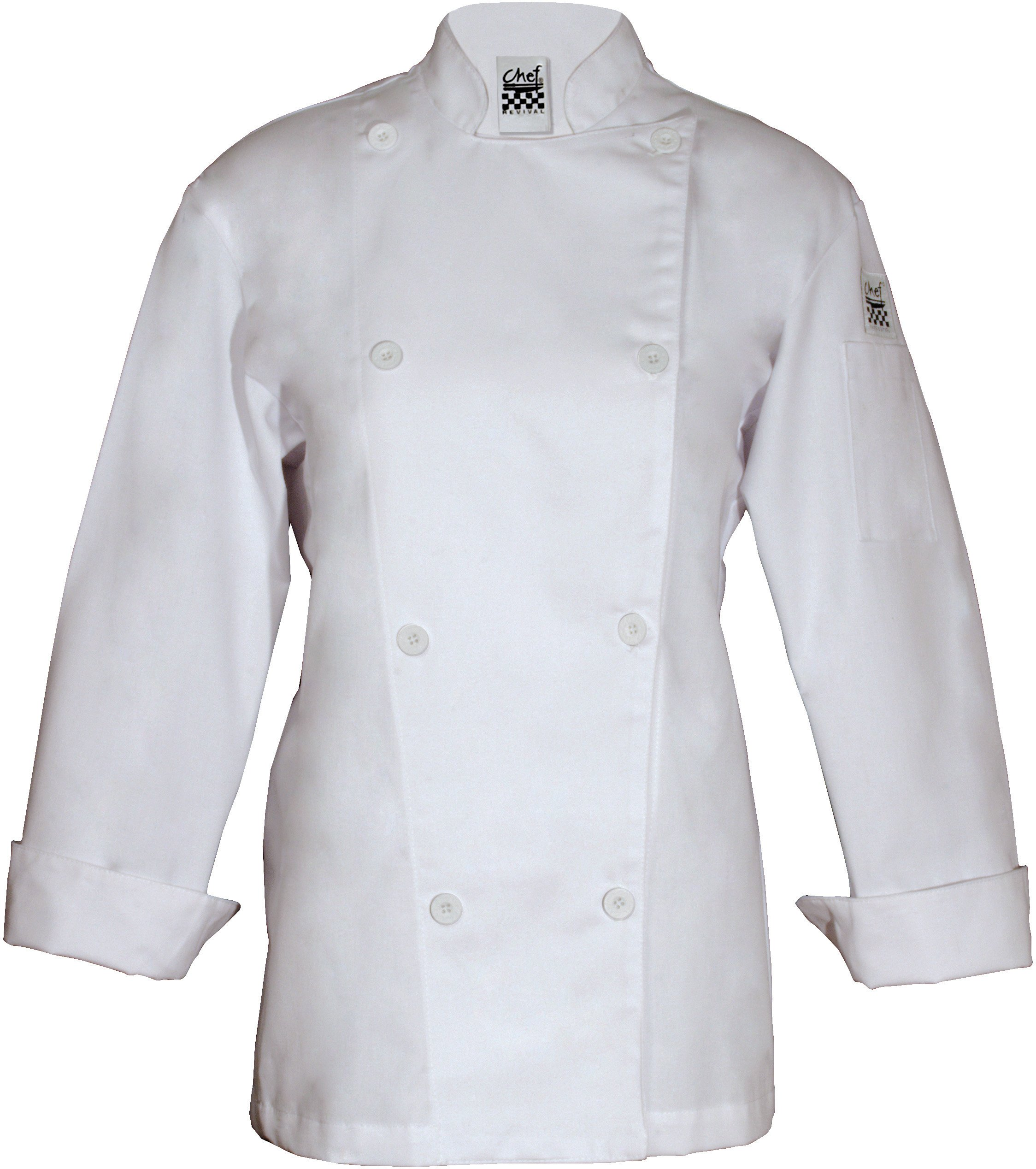 Chef Revival LJ027 Poly Cotton Ladies Knife and Steel Long Sleeve Jacket with White Chef Logo Button, 5X-Large, White