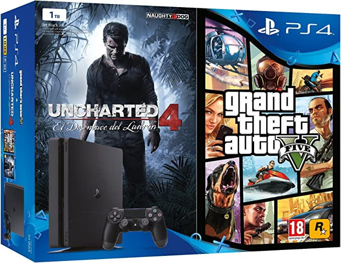 PlayStation 4 (PS4) - Consola De 1 TB + Uncharted 4: A Thiefs End + Grand Theft Auto V: Amazon.es: Videojuegos