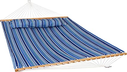 Blue and Green Sunnydaze Quilted Fabric Hammock Two Person with Spreader Bars Heavy Duty 450 Pound Capacity