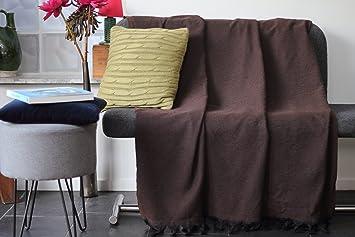 couvre lit en boutis fait main Grand Plaid, jeté de canapé ou couvre lit noir et marron