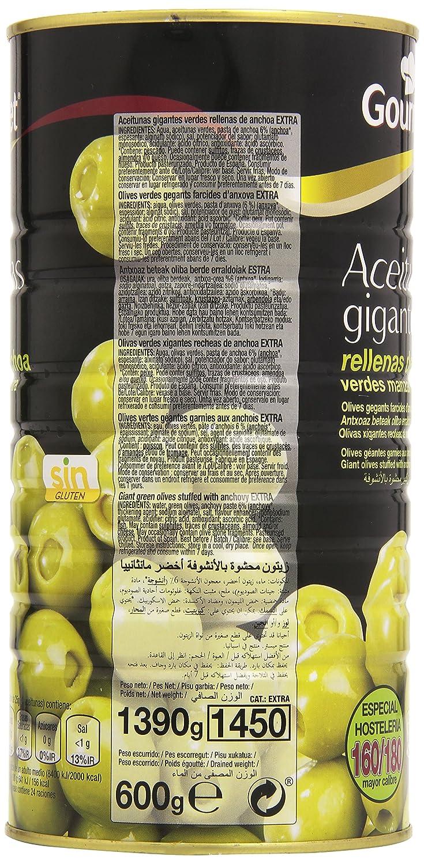 Gourmet - Aceitunas gigantes rellenas de anchoa - Verde manzanilla extra - 600 g - [pack de 3]: Amazon.es: Alimentación y bebidas