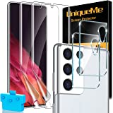 [2+2] UniqueMe Compatible for Samsung Galaxy S21 Ultra 5G 6.8- inch Flexible TPU Screen Protector and Camera Lens Protector [