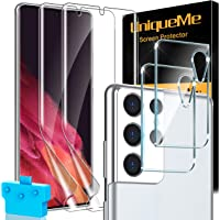 [2+2] UniqueMe 2 Pack Flexible TPU Screen Protector + 2 Pack Camera Lens Protector Compatible for Samsung Galaxy S21…